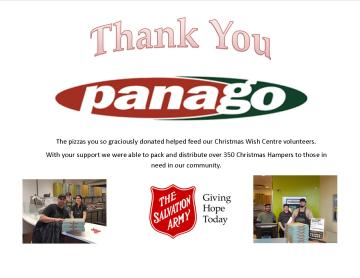 Panago Supports Hamper Program