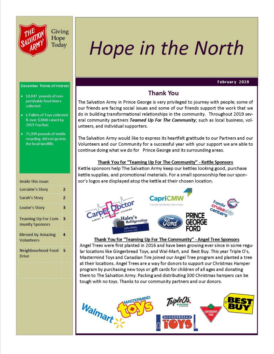 Hope in the North - February 2020